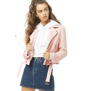 NEW! faux suede cozy moto jacket asymmetrical zip